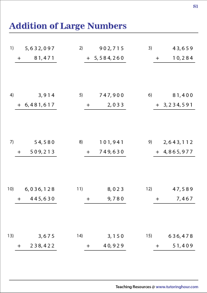 Large Numbers Addition