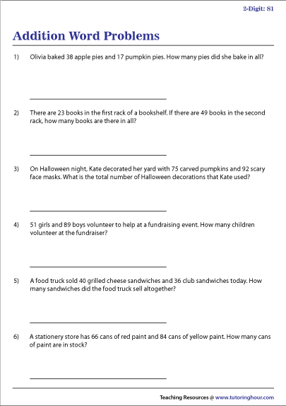 2-Digit Addition Word Problems