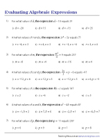 Evaluating Expressions – MCQ