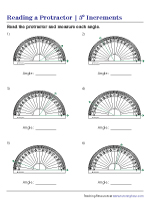 Reading a Protractor: Five-degree increments