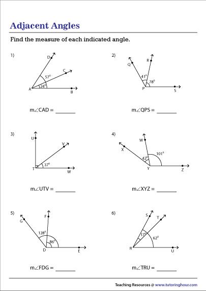 The Angle Addition Postulate Worksheet