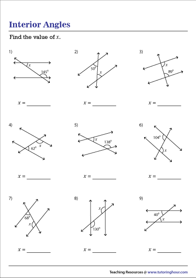 Interior Angles In Parallel Lines Worksheet