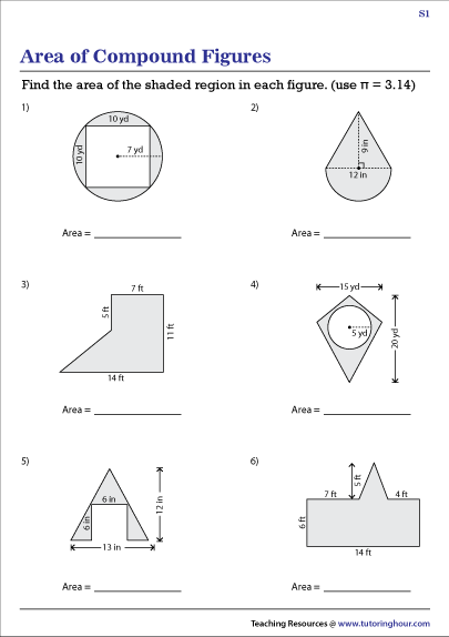 Area of Composite Shapes (Compound Figures) Worksheets