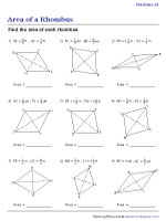 Area of a Rhombus - Fractions | Worksheet #1