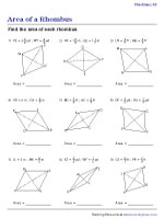 Area of a Rhombus - Fractions | Worksheet #2
