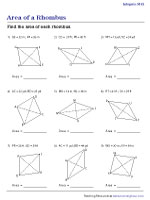 Area of a Rhombus | Integers - Moderate | Worksheet #1