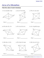 Area of a Rhombus | Integers - Moderate | Worksheet #2