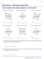 Find the Missing Diagonal of a Rhombus from Area Worksheets