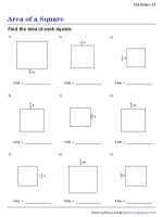 Area of Squares - Fractions | Worksheet #1