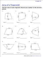 Calculating the Area of the Trapezoid - Decimals | Worksheet #1