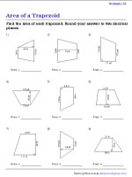 Finding the Area of Trapezoids - Decimals | Worksheet #2