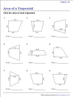 Finding the Area of a Trapezoid - Integers | Worksheet #2