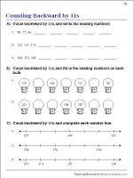 Counting Backward by 11s Worksheets