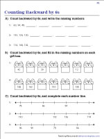 Counting Backward by 6s Worksheets