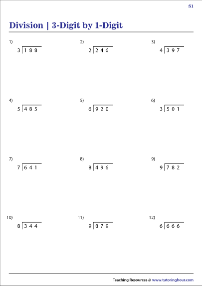 3-Digit by 1-Digit Division