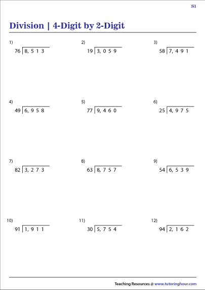 4-Digit by 2-Digit Division