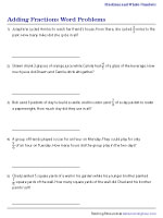 Adding Fractions Word Problems Worksheets
