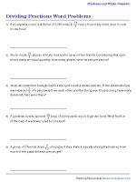 Dividing Fractions Word Problems Worksheets