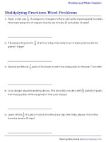 Multiplying Fractions Word Problems Worksheets