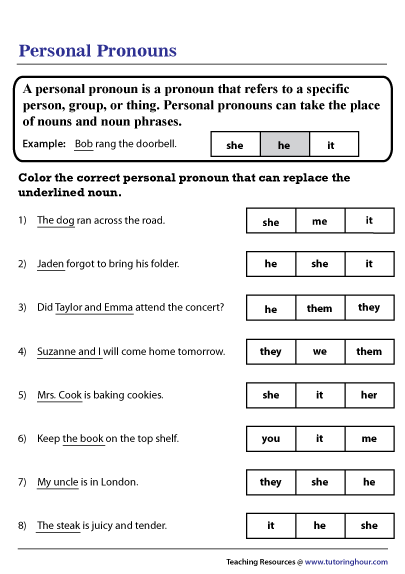 Replacing Nouns with Personal Pronouns