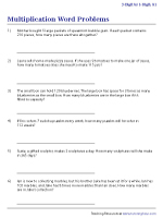 3-Digit by 1-Digit Multiplication Word Problems Worksheets