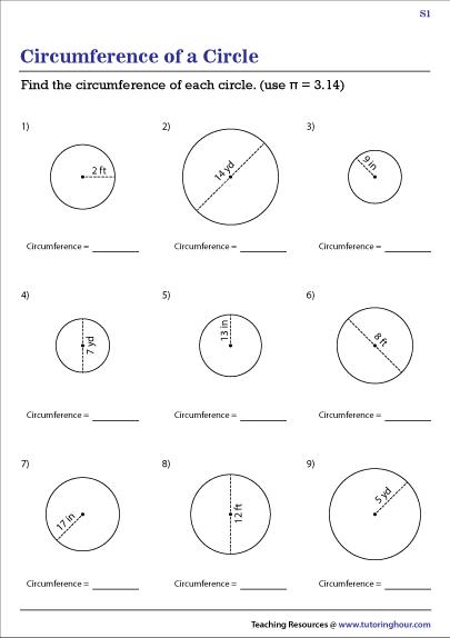 Circumference of a Circle Worksheets
