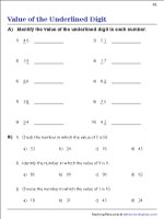Value of the Underlined Digits | Worksheet #1