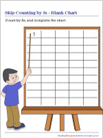 Skip Counting by 5s Worksheets | Blank Chart
