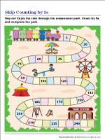 Skip Counting by 5s Worksheets | Partially Filled Chart