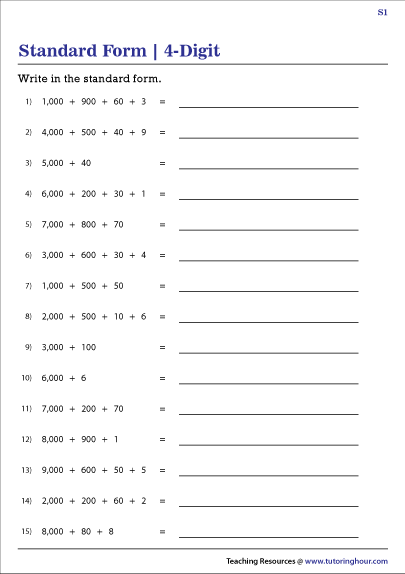 Writing 4-Digit Numbers in Standard Form