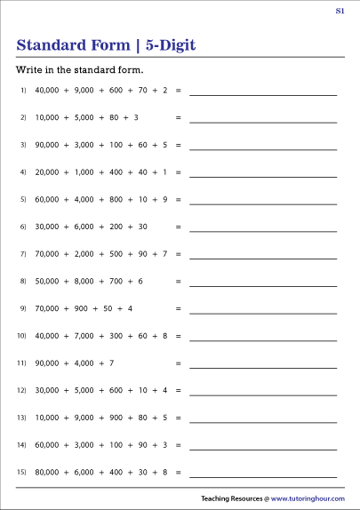 Writing 5-Digit Numbers in Standard Form