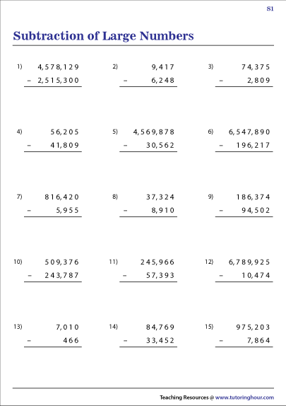 Subtraction of Large Numbers