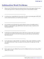 Multi-Digit Subtraction Word Problems Worksheets